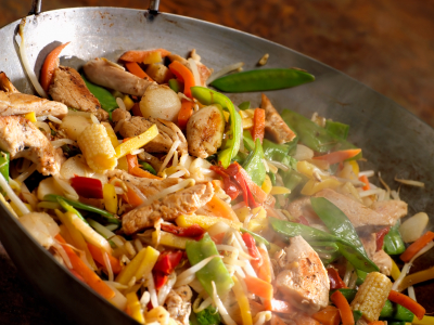 Chicken and Vegetable Stir Fry Cooking in a Wok -Photographed on Hasselblad H1-22mb Camera
